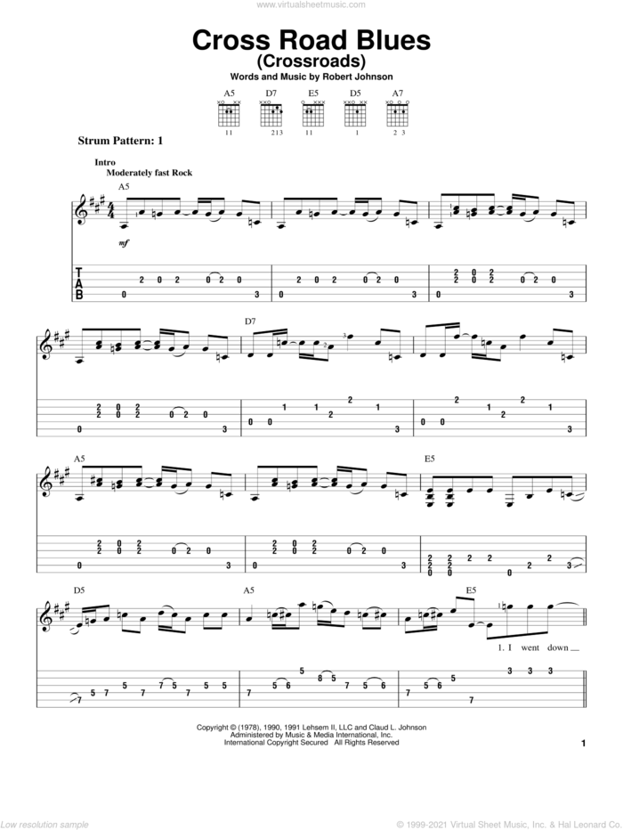 Cross Road Blues (Crossroads) sheet music for guitar solo (easy tablature) by Cream, Eric Clapton and Robert Johnson, easy guitar (easy tablature)