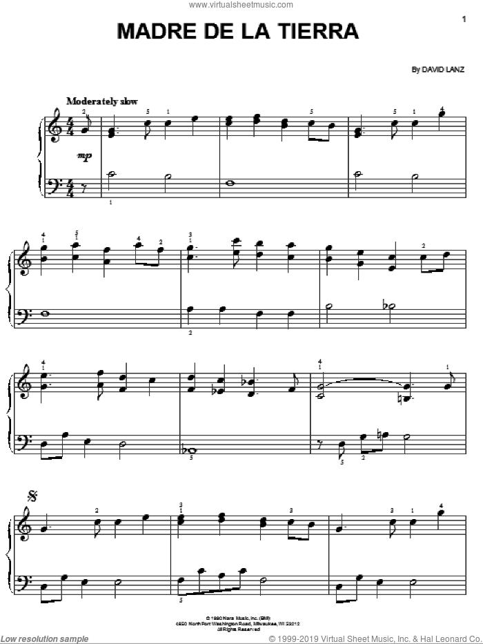 Madre De La Tierra sheet music for piano solo by David Lanz, easy skill level