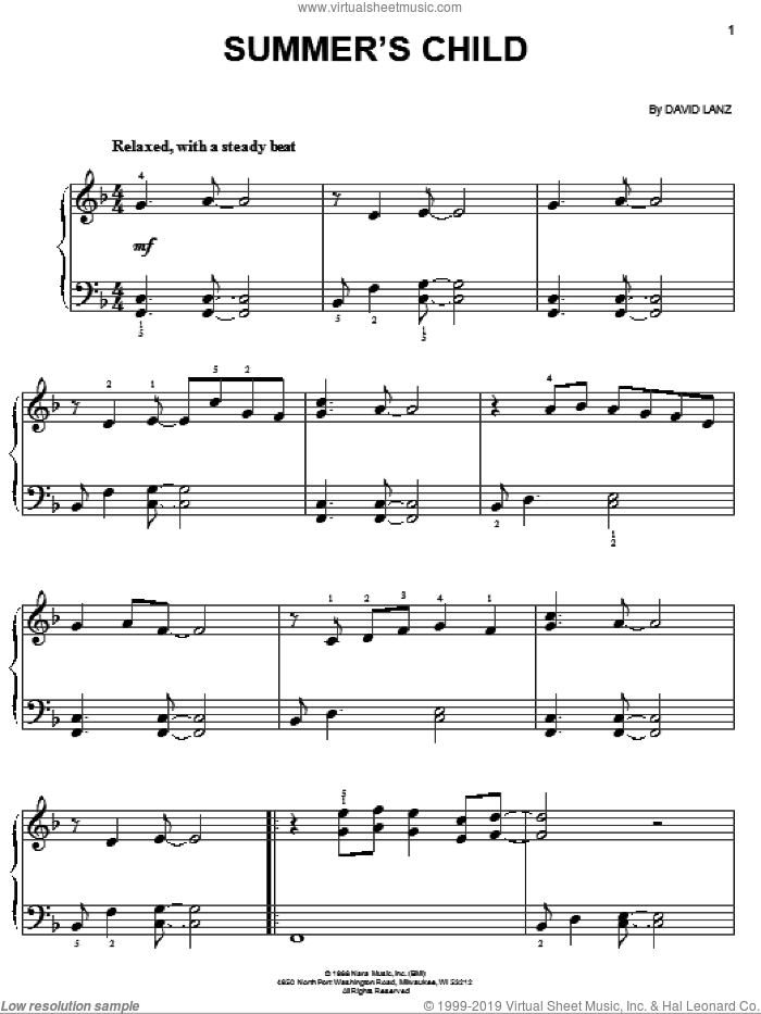 Summer's Child sheet music for piano solo by David Lanz, easy skill level
