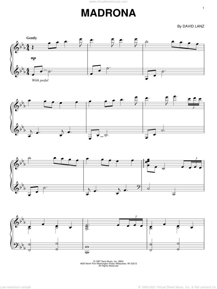 Madrona sheet music for piano solo by David Lanz, intermediate skill level