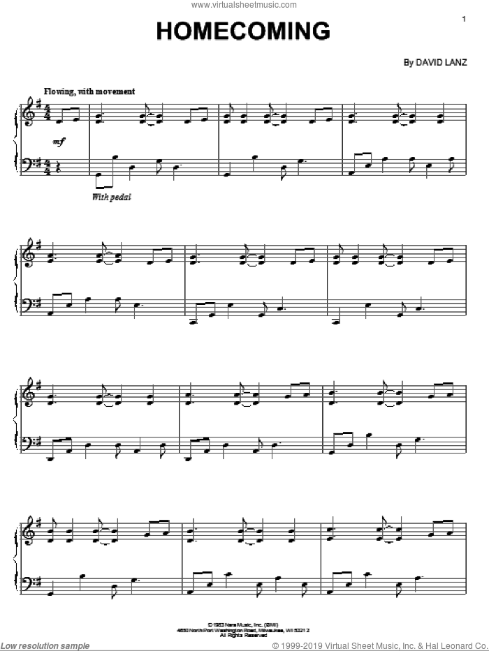 Homecoming sheet music for piano solo by David Lanz, intermediate skill level