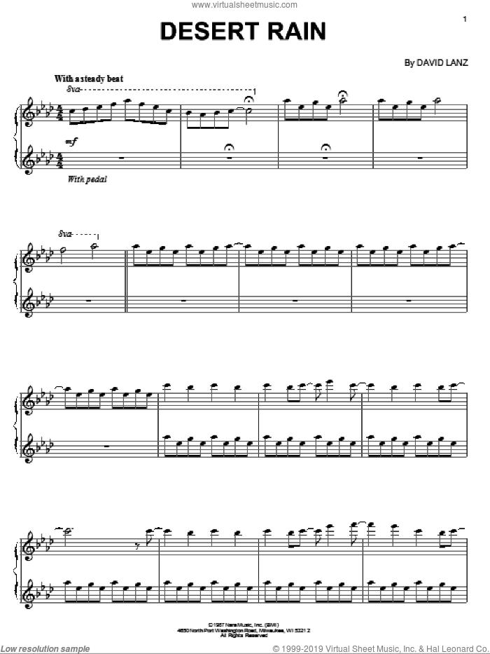 Desert Rain sheet music for piano solo by David Lanz, intermediate skill level