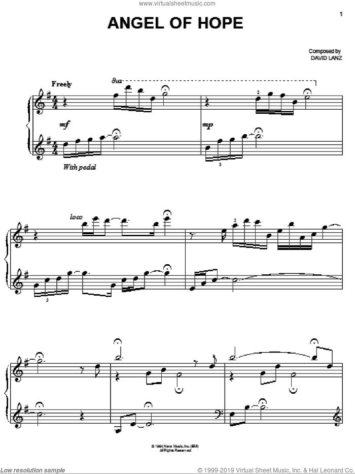 Angel Of Hope sheet music for piano solo by David Lanz, easy skill level