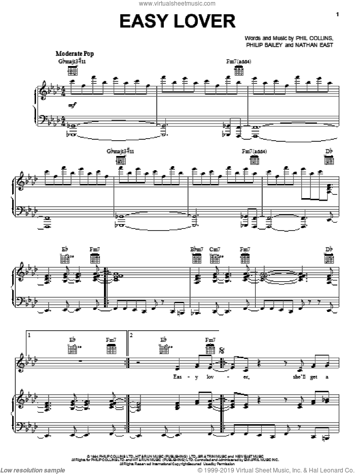 Easy Lover sheet music for voice, piano or guitar by Phil Collins & Philip Bailey, Nathan East, Phil Collins and Philip Bailey, intermediate skill level