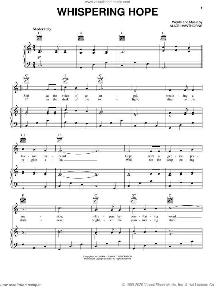 Whispering Hope sheet music for voice, piano or guitar by Alice Hawthorne and Septimus Winner, intermediate skill level