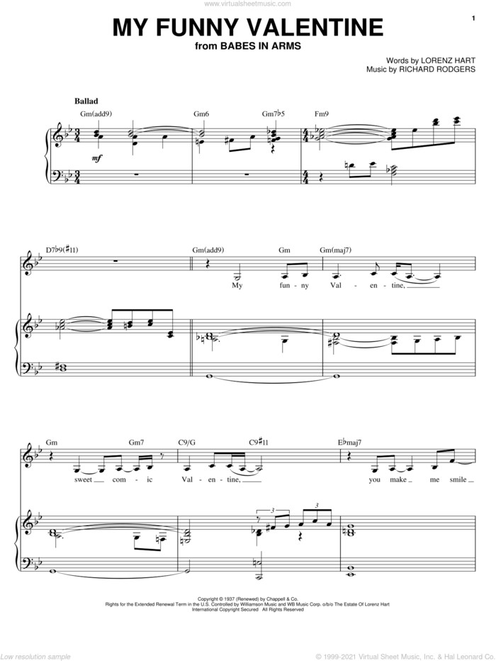 My Funny Valentine sheet music for voice and piano by Sarah Vaughan, Babes In Arms (Musical), Rodgers & Hart, Lorenz Hart and Richard Rodgers, intermediate skill level