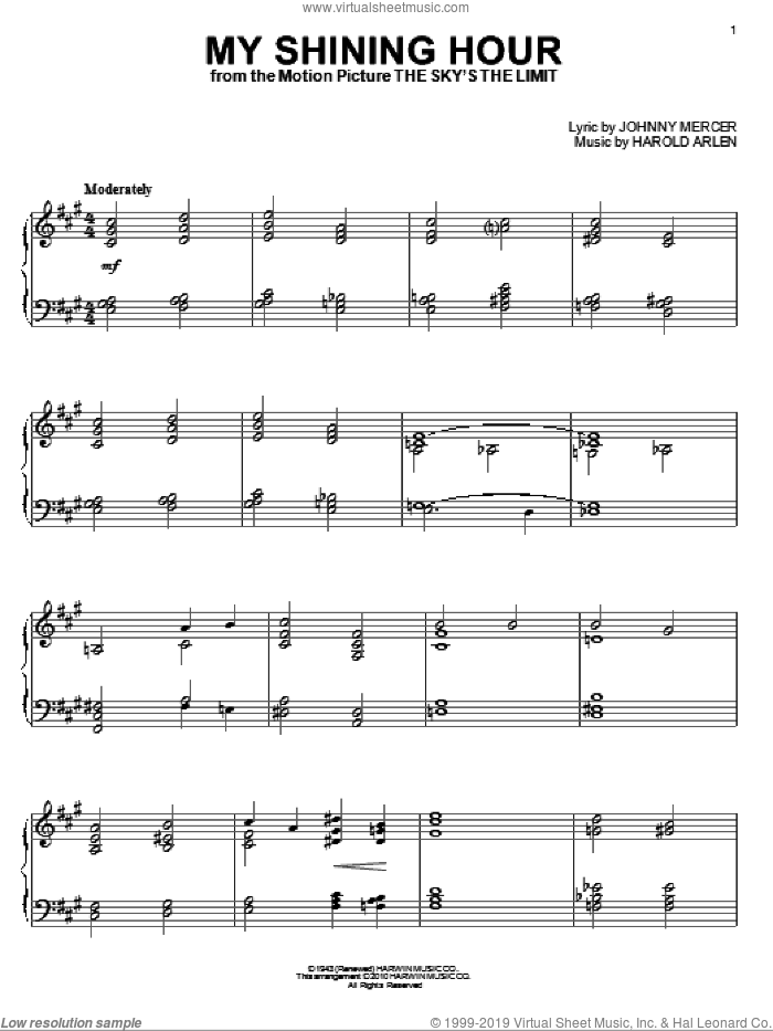 My Shining Hour, (intermediate) sheet music for piano solo by Harold Arlen, Jack Reilly and Johnny Mercer, intermediate skill level