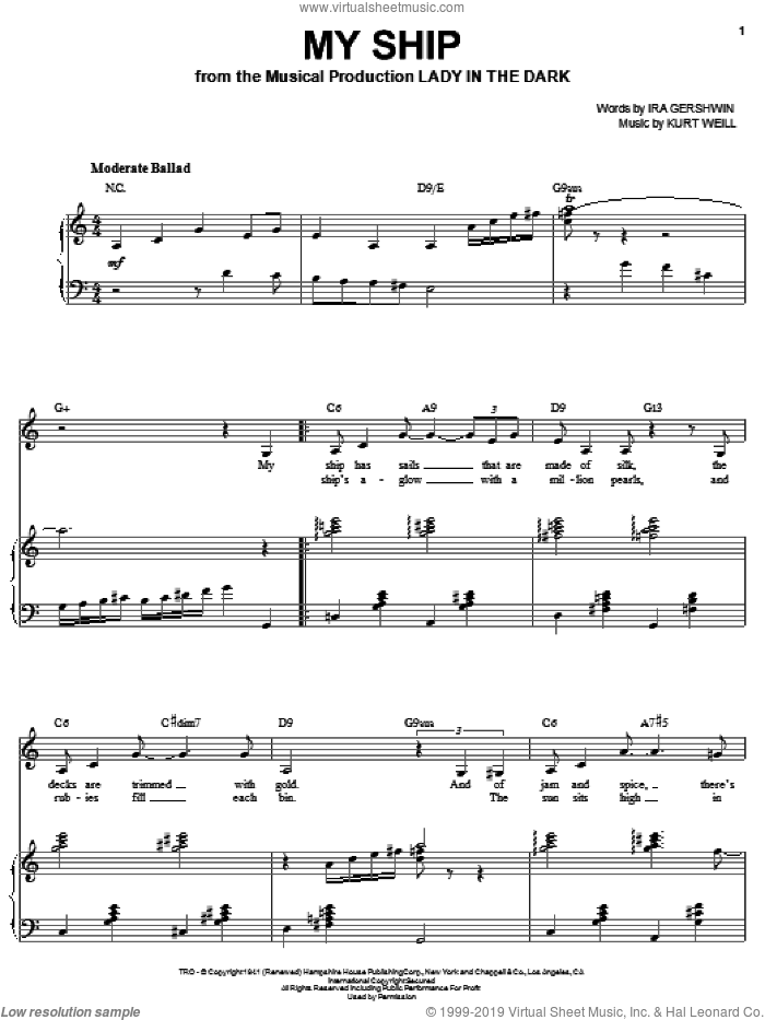 My Ship sheet music for voice and piano by Sarah Vaughan, Ira Gershwin and Kurt Weill, intermediate skill level