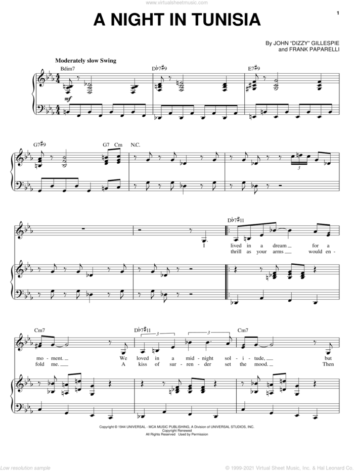 A Night In Tunisia sheet music for voice and piano by Sarah Vaughan, Dizzy Gillespie and Frank Paparelli, intermediate skill level
