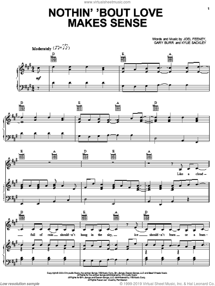 Nothin 'Bout Love Makes Sense sheet music for voice, piano or guitar by LeAnn Rimes, Gary Burr, Joel Feeney and Kylie Sackley, intermediate skill level