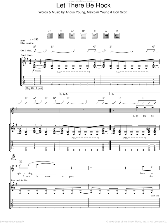 Let There Be Rock sheet music for guitar (tablature) by AC/DC, Angus Young, Bon Scott and Malcolm Young, intermediate skill level
