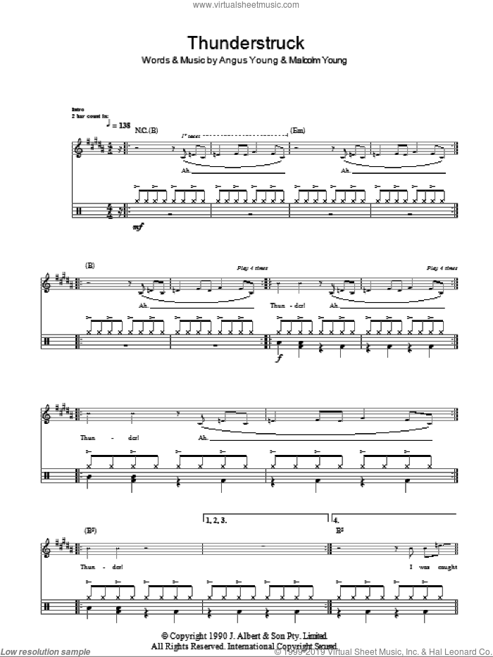 Thunderstruck sheet music for drums (percussions) by AC/DC, Angus Young and Malcolm Young, intermediate skill level
