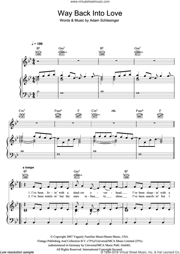 Way Back Into Love (from the soundtrack to 'Music And Lyrics') sheet music for voice, piano or guitar by Hugh Grant & Haley Bennett and Adam Schlesinger, intermediate skill level
