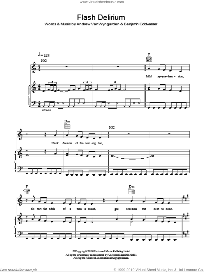 Flash Delirium sheet music for voice, piano or guitar by MGMT, Andrew Vanwyngarden and Benjamin Goldwasser, intermediate skill level
