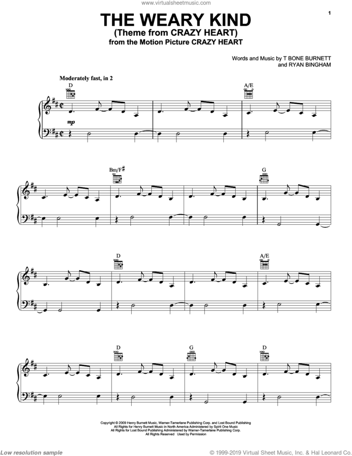 The Weary Kind (Theme From Crazy Heart) sheet music for voice, piano or guitar by Ryan Bingham, Crazy Heart (Movie) and T-Bone Burnett, intermediate skill level