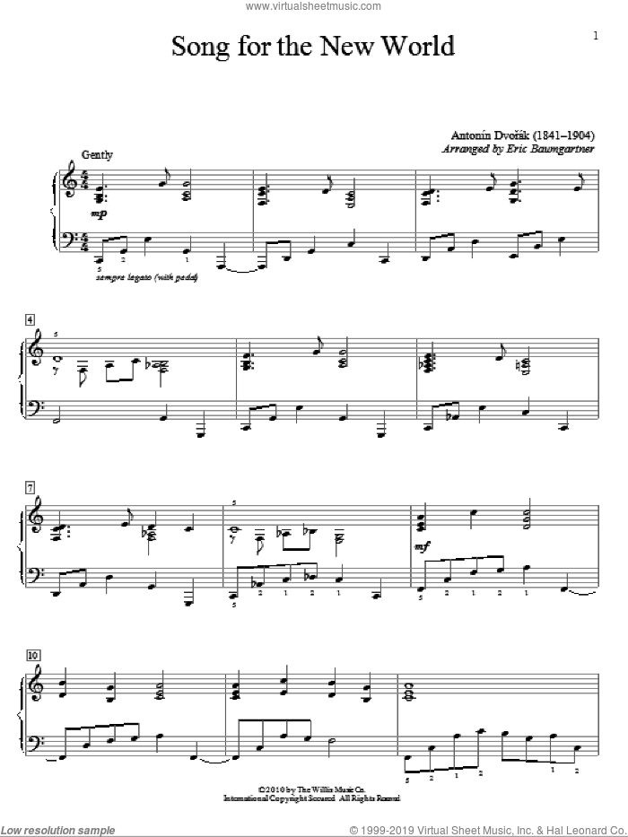 Song For The New World sheet music for piano solo (elementary) by Antonin Dvorak and Eric Baumgartner, classical score, beginner piano (elementary)