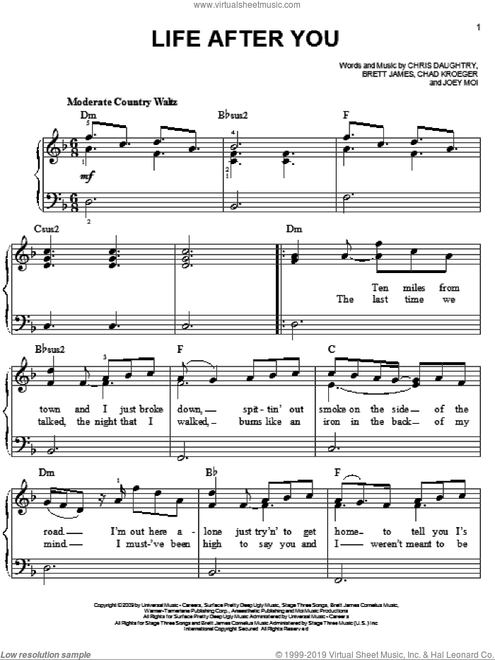 Life After You sheet music for piano solo by Daughtry, Brett James, Chad Kroeger, Chris Daughtry and Joey Moi, easy skill level