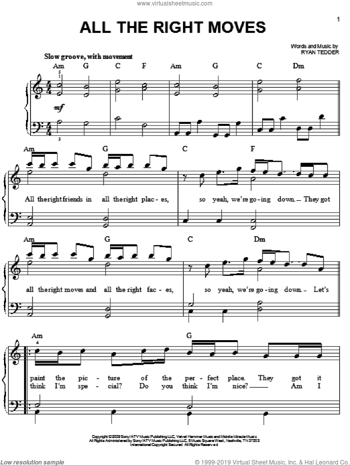All The Right Moves sheet music for piano solo by OneRepublic and Ryan Tedder, easy skill level