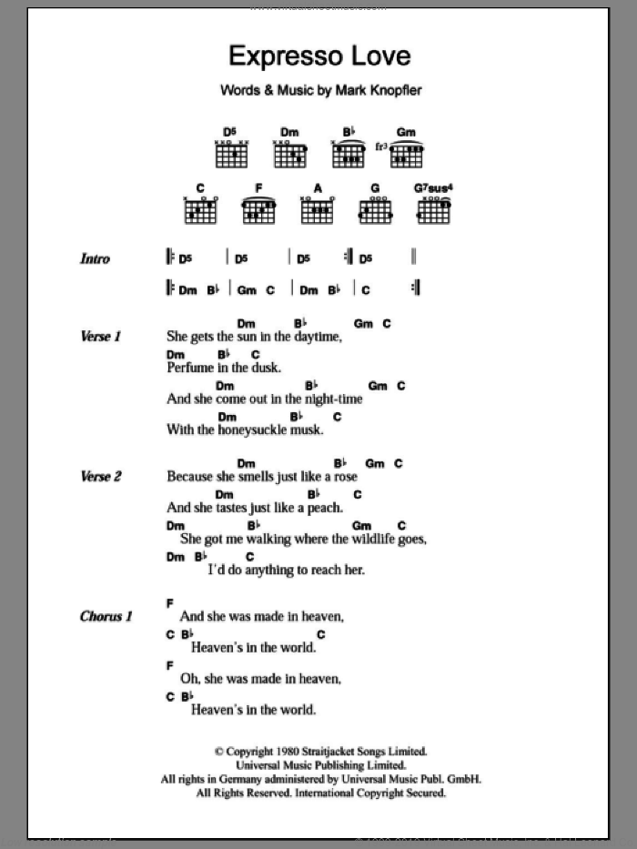 Expresso Love sheet music for guitar (chords) by Dire Straits and Mark Knopfler, intermediate skill level