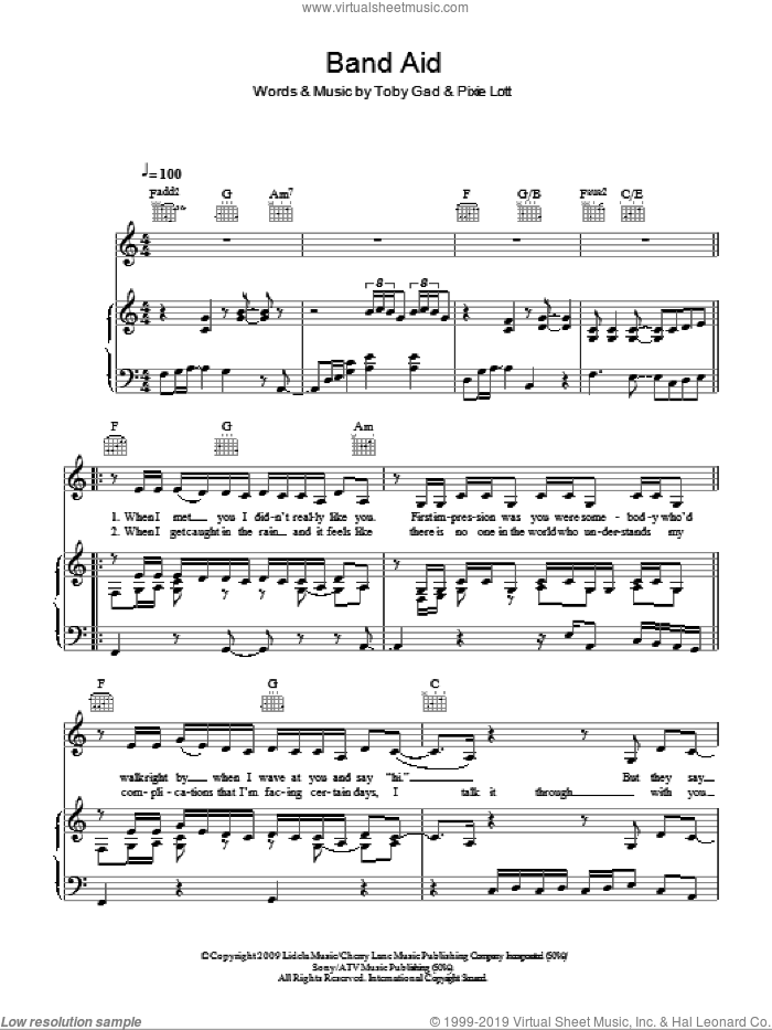 Band Aid sheet music for voice, piano or guitar by Pixie Lott and Toby Gad, intermediate skill level