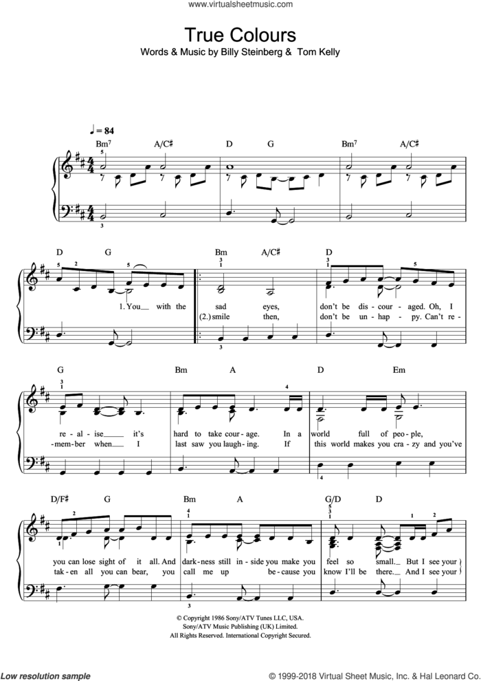 True Colours sheet music for piano solo by Glee Cast, Cyndi Lauper, Miscellaneous, Billy Steinberg and Tom Kelly, easy skill level