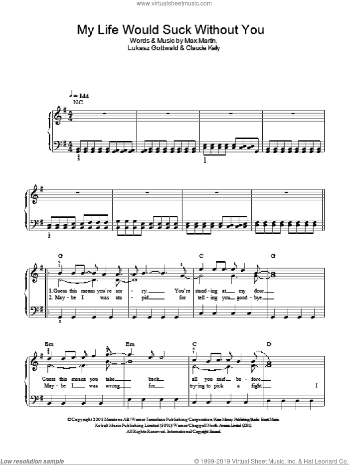 My Life Would Suck Without You sheet music for piano solo by Glee Cast, Kelly Clarkson, Miscellaneous, Claude Kelly, Lukasz Gottwald and Max Martin, easy skill level