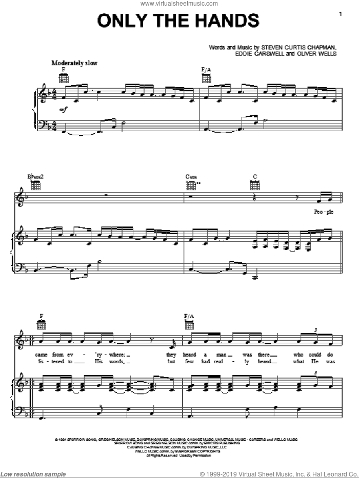 Only The Hands sheet music for voice, piano or guitar by Newsong, Eddie Carswell, Oliver Wells and Steven Curtis Chapman, intermediate skill level