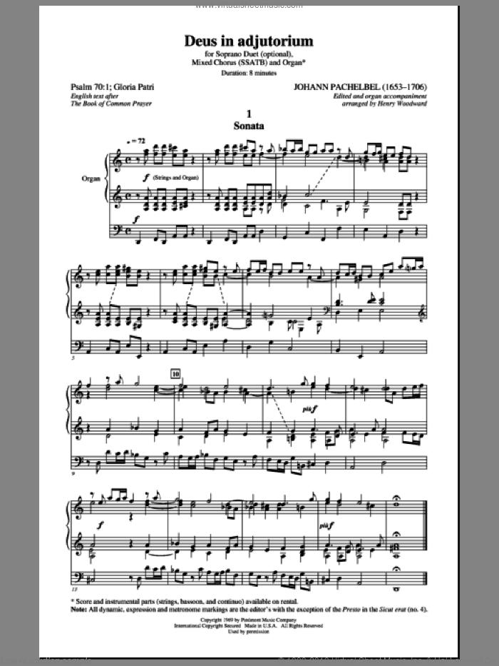 Deus In Adjutorium sheet music for choir (SATB: soprano, alto, tenor, bass) by Johann Pachelbel and Henry Woodward, classical score, intermediate skill level