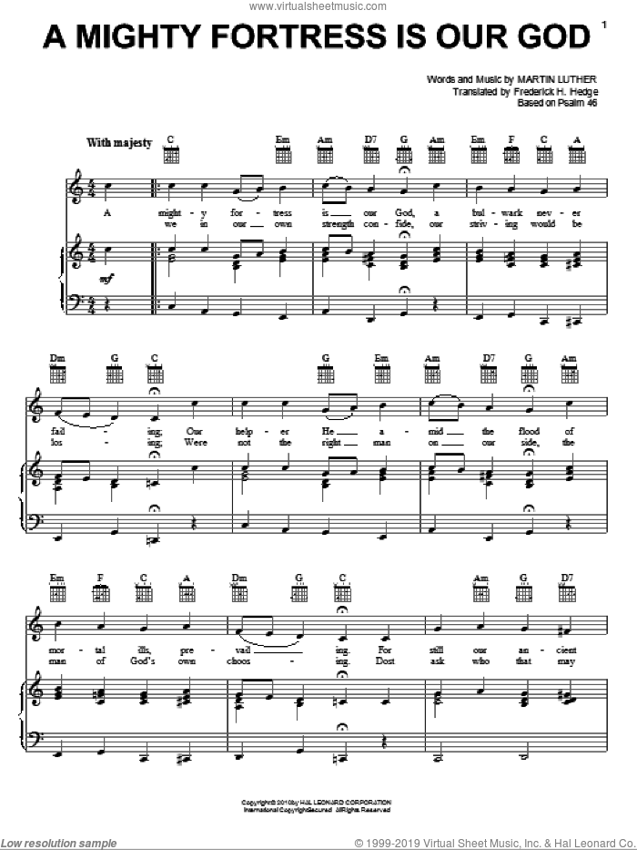 A Mighty Fortress Is Our God sheet music for voice, piano or guitar by Martin Luther and Frederick H. Hedge, intermediate skill level