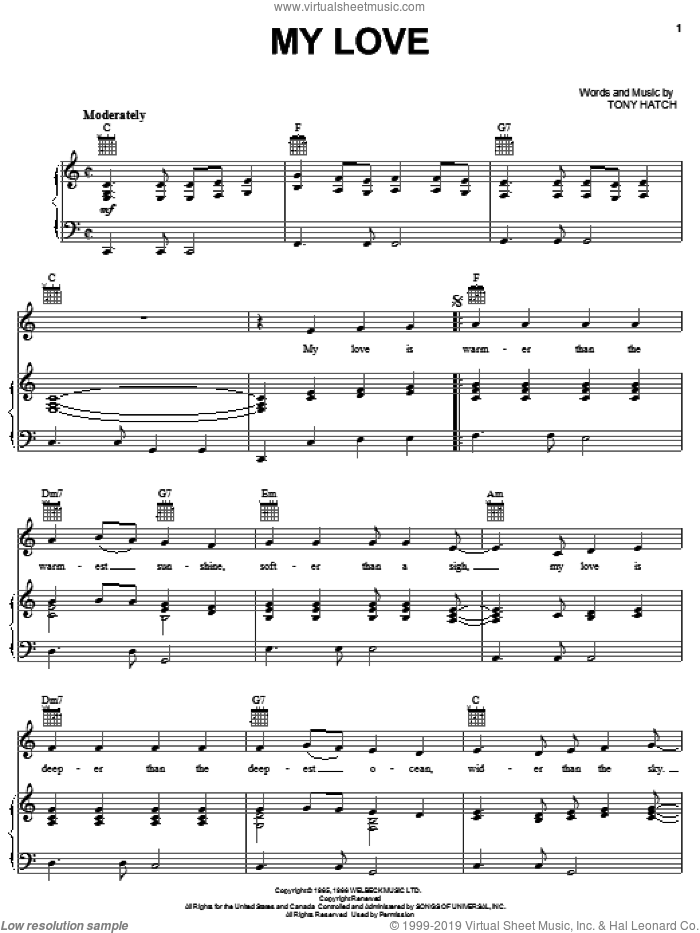 My Love sheet music for voice, piano or guitar by Petula Clark and Tony Hatch, wedding score, intermediate skill level