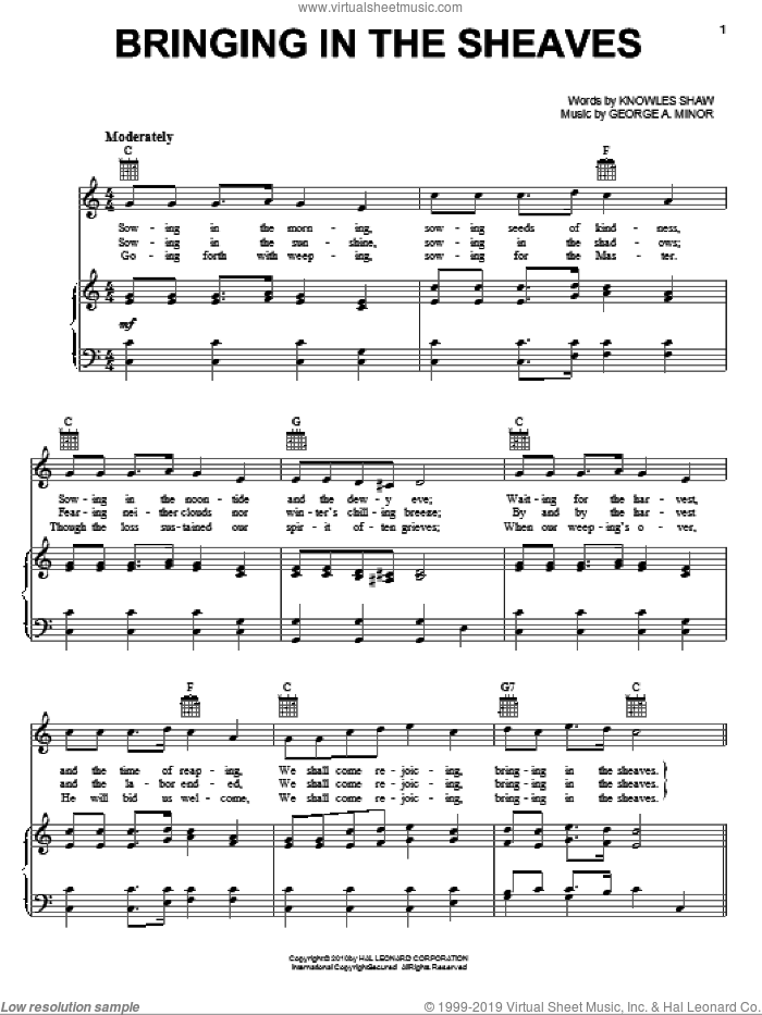 Bringing In The Sheaves sheet music for voice, piano or guitar by Knowles Shaw and George A. Minor, intermediate skill level