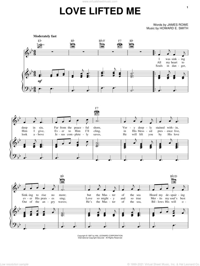 Love Lifted Me sheet music for voice, piano or guitar by James Rowe, Kenny Rogers and Howard E. Smith, intermediate skill level