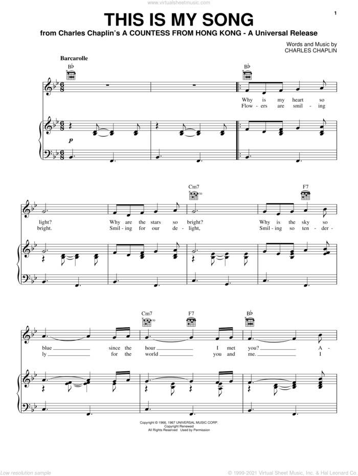 This Is My Song sheet music for voice, piano or guitar by Petula Clark and Charles Chaplin, intermediate skill level