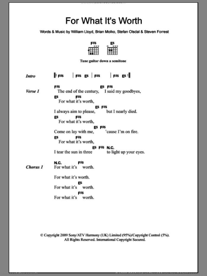 For What It's Worth sheet music for guitar (chords) by Placebo, Brian Molko, Stefan Olsdal, Steven Forrest and William Lloyd, intermediate skill level