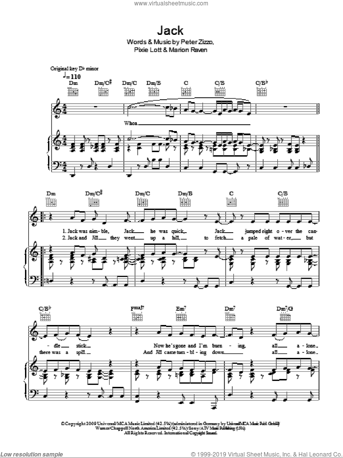 Jack sheet music for voice, piano or guitar by Pixie Lott, Marion Raven and Peter Zizzo, intermediate skill level