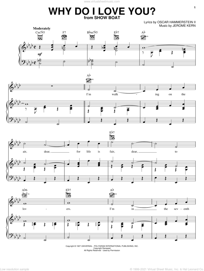 Why Do I Love You? sheet music for voice, piano or guitar by Jerome Kern, Charlie Parker, Edith Day, Show Boat (Musical) and Oscar II Hammerstein, wedding score, intermediate skill level