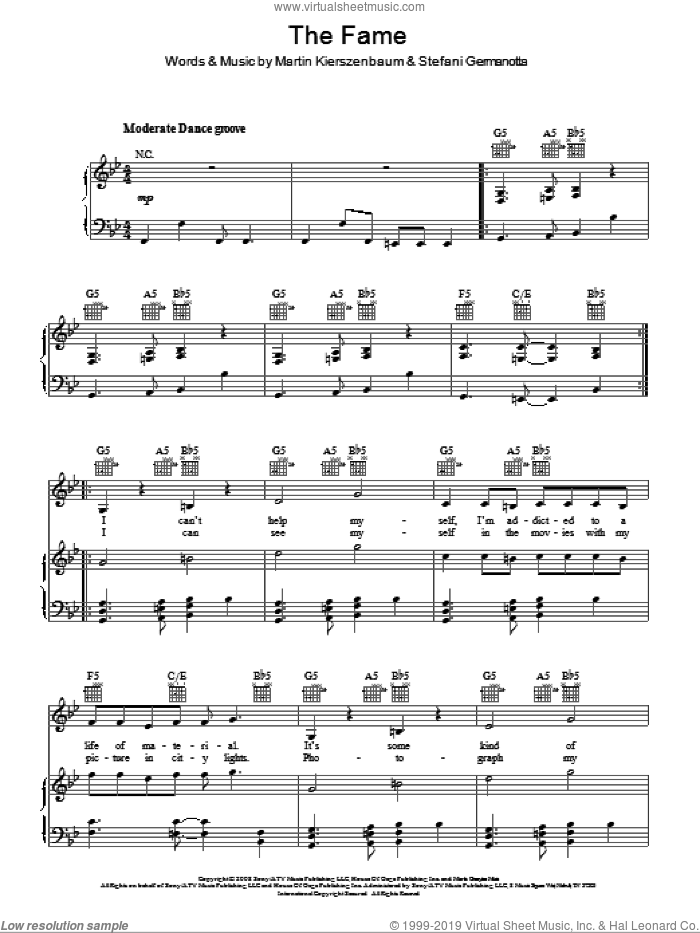 The Fame sheet music for voice, piano or guitar by Lady GaGa and Martin Kierszenbaum, intermediate skill level