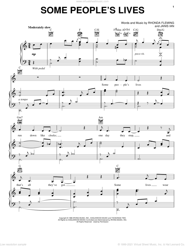 Some People's Lives sheet music for voice and piano by Bette Midler, Janis Ian and Rhonda Fleming, intermediate skill level