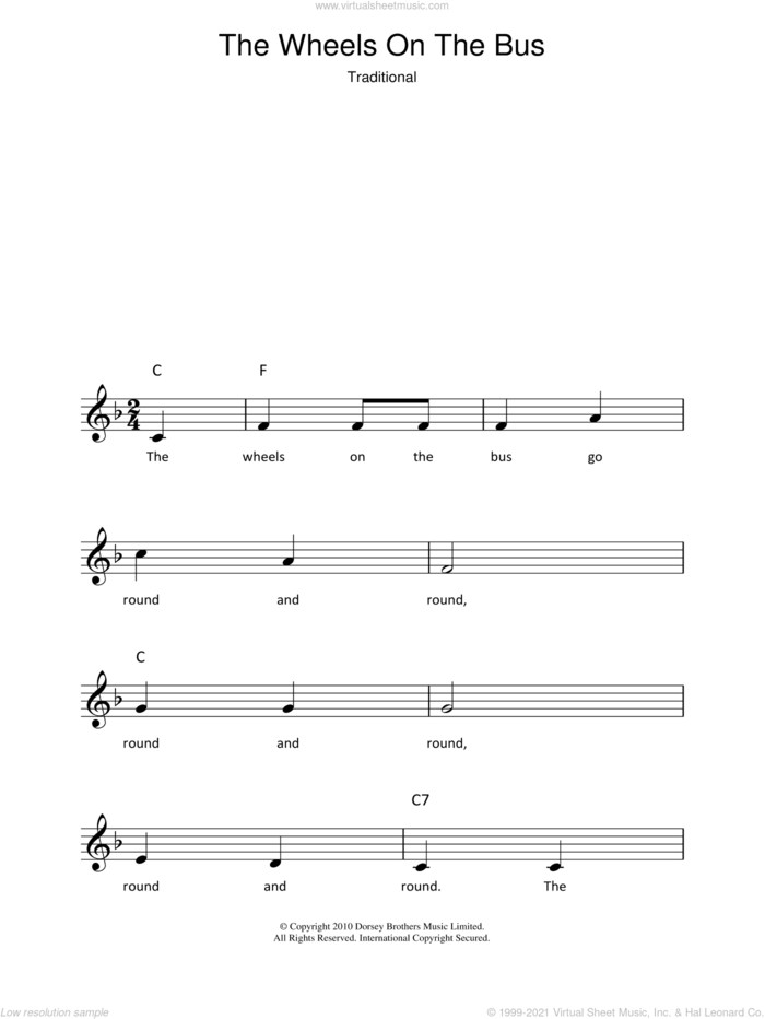 The Wheels On The Bus sheet music for voice and other instruments (fake book), intermediate skill level
