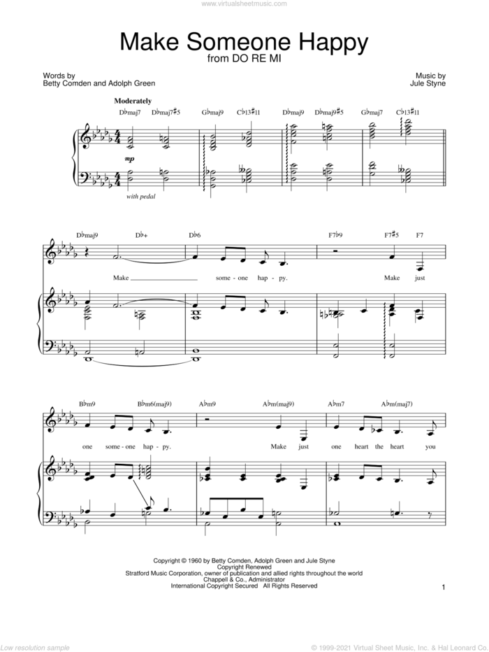 Make Someone Happy sheet music for voice, piano or guitar by Barbra Streisand, Adolph Green, Betty Comden and Jule Styne, intermediate skill level