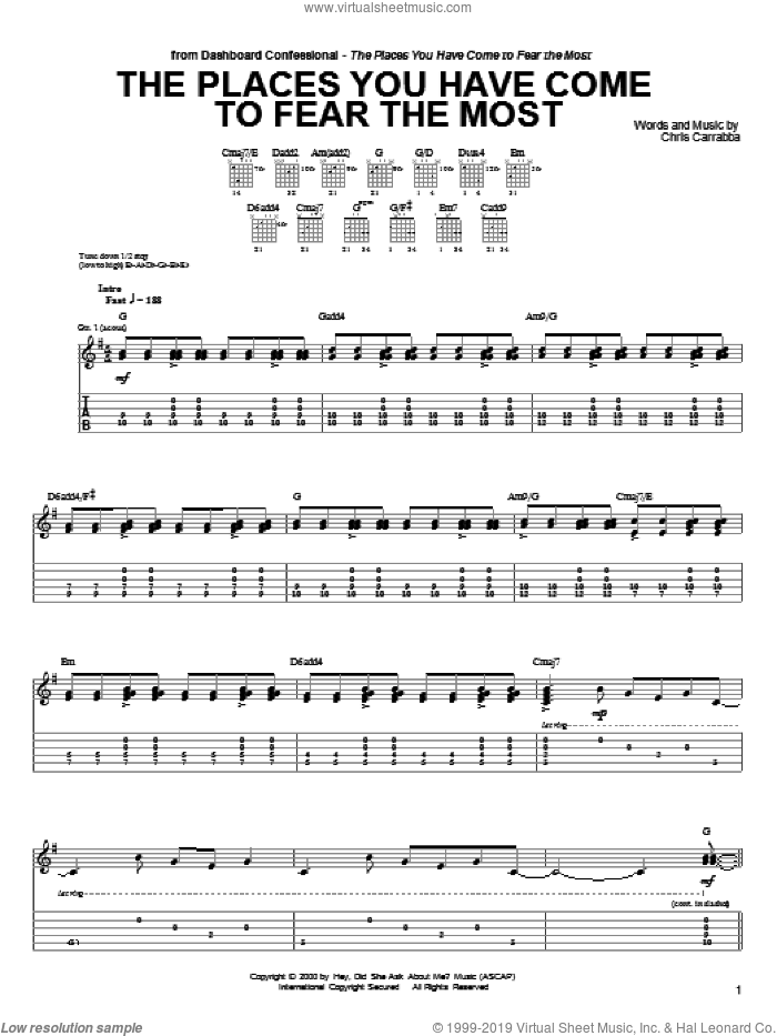 The Places You Have Come To Fear The Most sheet music for guitar (tablature) by Dashboard Confessional and Chris Carrabba, intermediate skill level