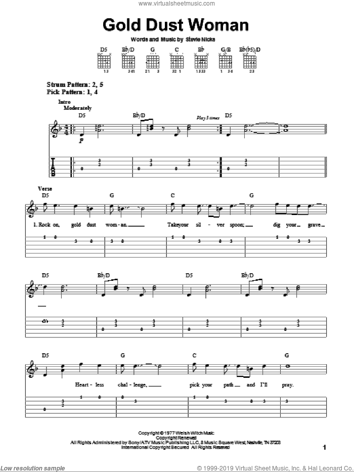 Gold Dust Woman sheet music for guitar solo (easy tablature) by Fleetwood Mac and Stevie Nicks, easy guitar (easy tablature)