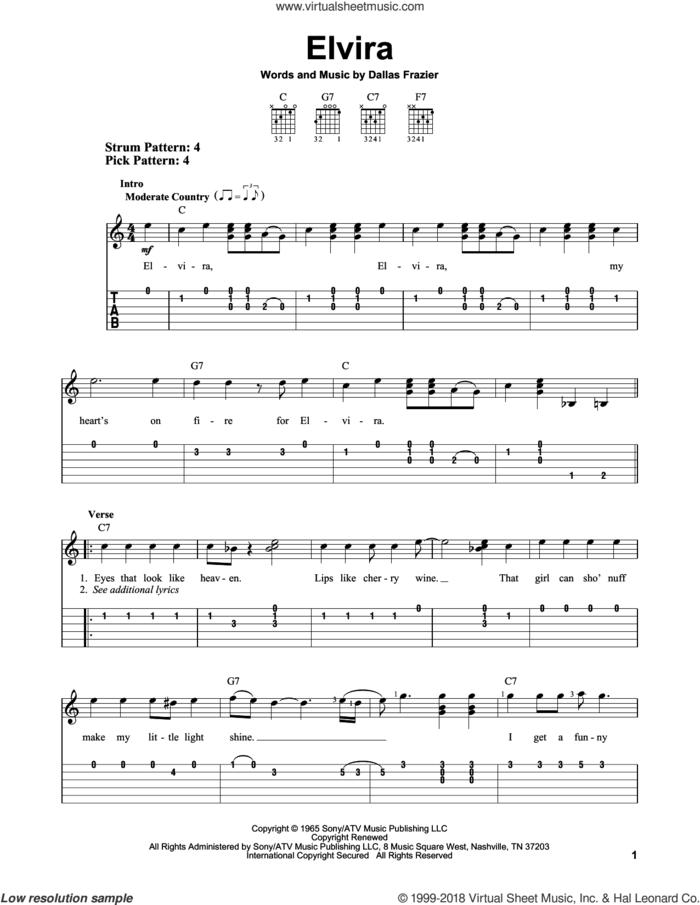 Elvira sheet music for guitar solo (easy tablature) by Oak Ridge Boys and Dallas Frazier, easy guitar (easy tablature)