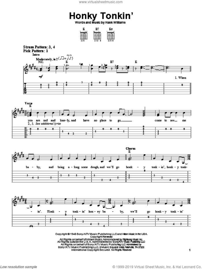 Honky Tonkin' sheet music for guitar solo (easy tablature) by Hank Williams, easy guitar (easy tablature)