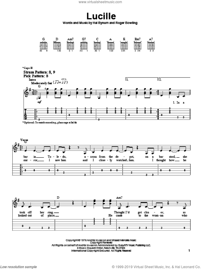 Lucille sheet music for guitar solo (easy tablature) by Kenny Rogers, Hal Bynum and Roger Bowling, easy guitar (easy tablature)