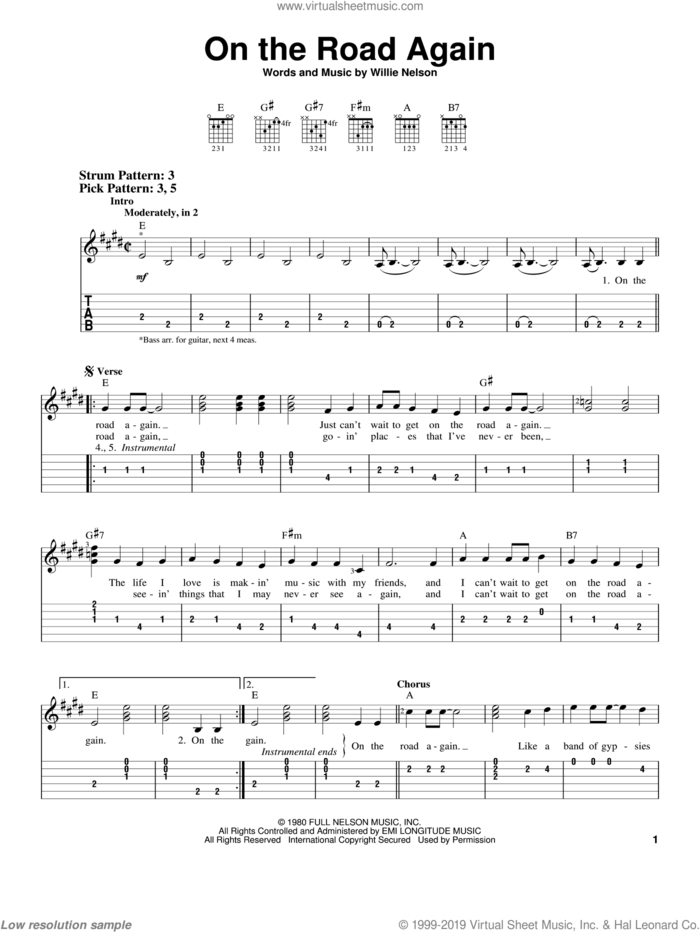 On The Road Again sheet music for guitar solo (easy tablature) by Willie Nelson, easy guitar (easy tablature)