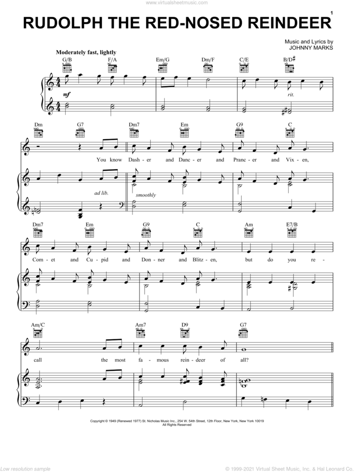 Rudolph The Red-Nosed Reindeer sheet music for voice, piano or guitar by Johnny Marks and Gene Autry, intermediate skill level