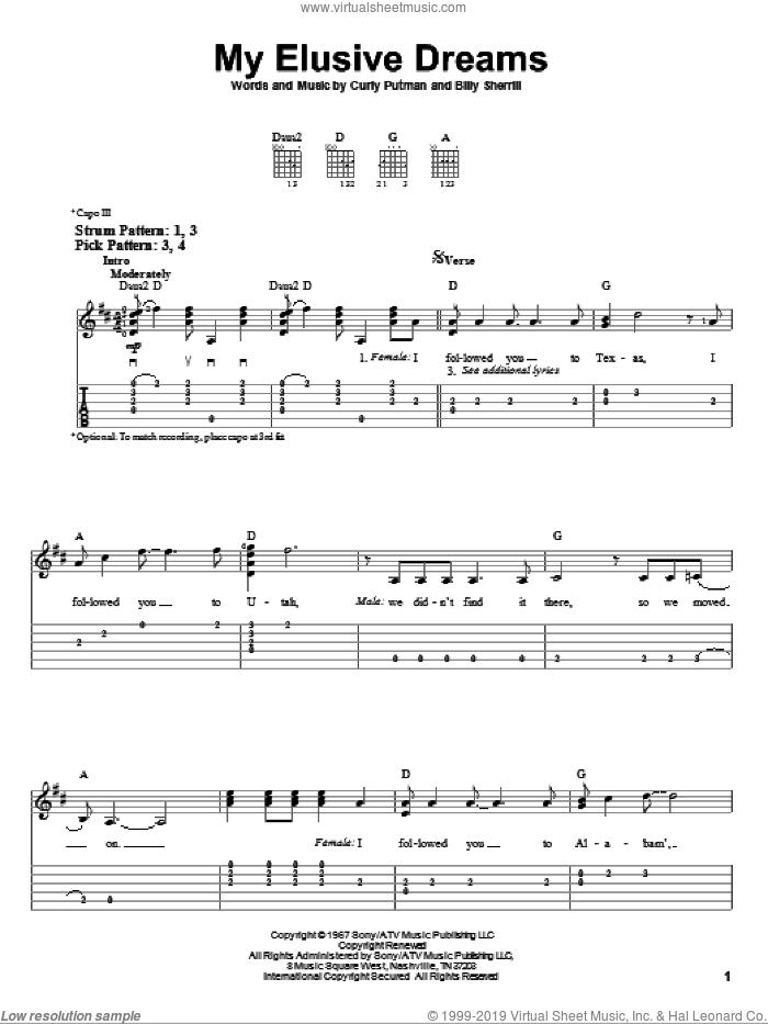 My Elusive Dreams sheet music for guitar solo (easy tablature) by David Houston & Tammy Wynette, David Houston, Tammy Wynette, Billy Sherrill and Curly Putman, easy guitar (easy tablature)