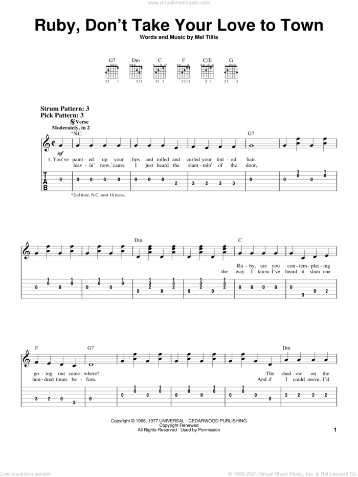 Ruby, Don't Take Your Love To Town sheet music for guitar solo (easy tablature) by Kenny Rogers and Mel Tillis, easy guitar (easy tablature)
