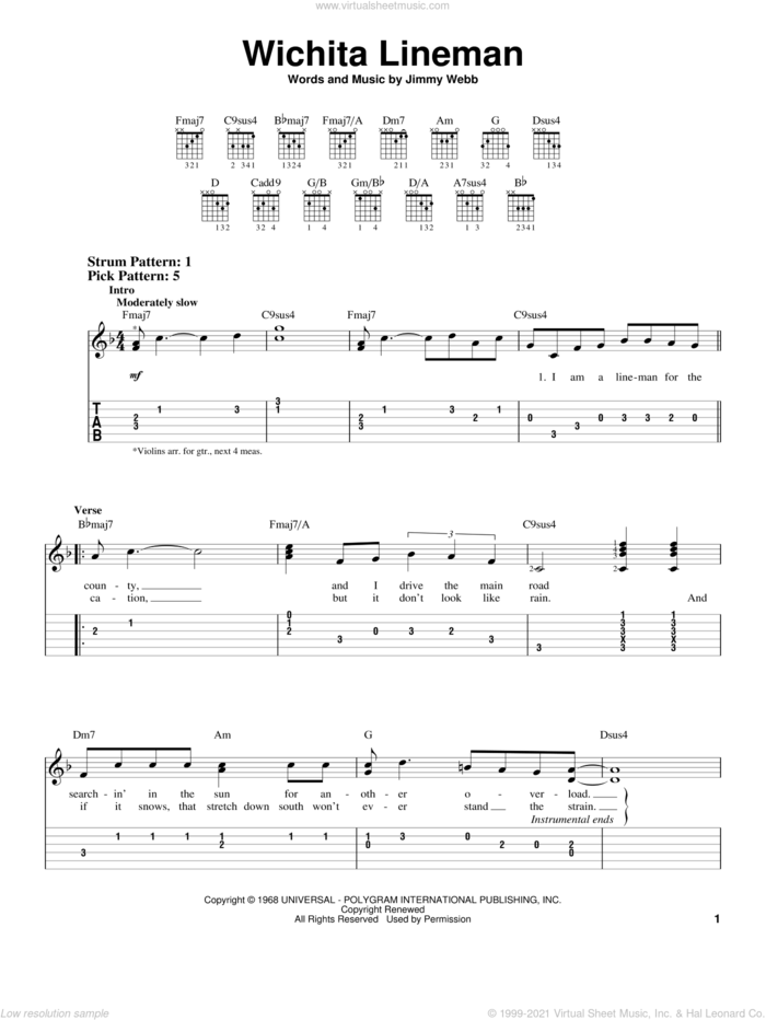 Wichita Lineman sheet music for guitar solo (easy tablature) by Glen Campbell, Johnny Cash and Jimmy Webb, easy guitar (easy tablature)